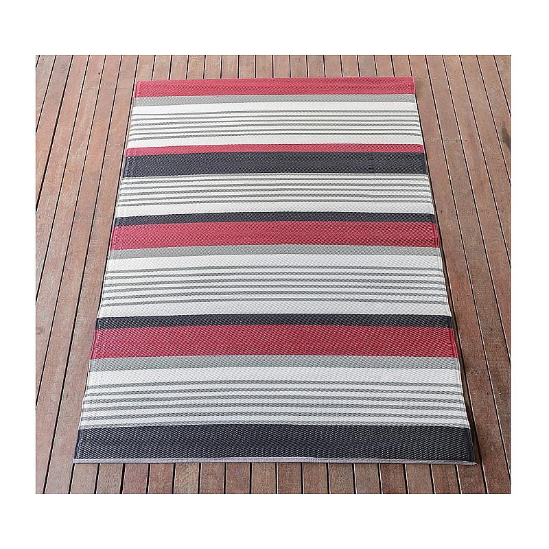 150x220cm Red/White/Black Outdoor Alfresco polypropylene washable uv resistant rug