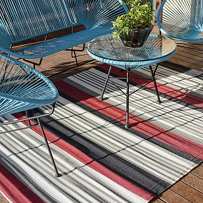 150x220cm Red/White/Black Outdoor Alfresco polypropylene washable uv resistant rug