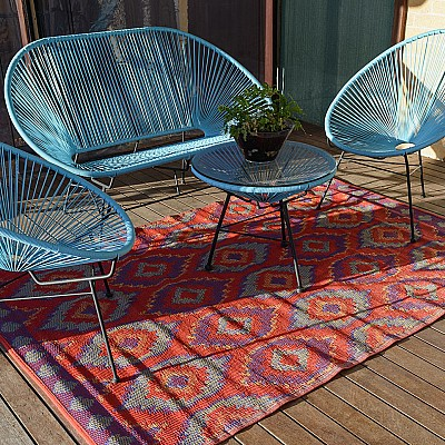 150x220cm Red Outdoor Alfresco polypropylene washable uv resistant rug