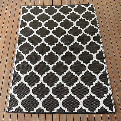 150x220cm Black/White Outdoor Alfresco polypropylene washable uv resistant rug