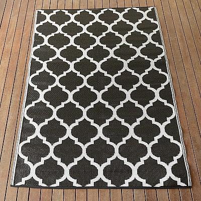 150x220cm Black/White Outdoor Alfresco polypropylene washable uv resistant rug