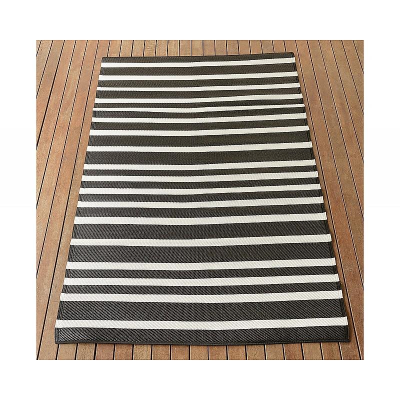150x220cm Black/White Lines Outdoor Alfresco polypropylene washable uv resistant rug