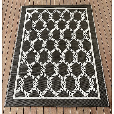 150x220cm Black/White Ropes Outdoor Alfresco polypropylene washable uv resistant rug
