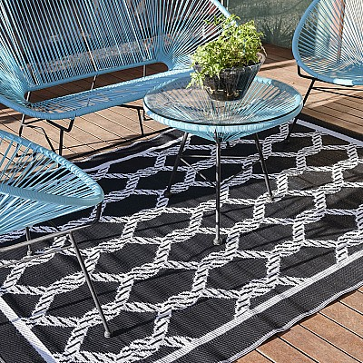 150x220cm Black/White Ropes Outdoor Alfresco polypropylene washable uv resistant rug