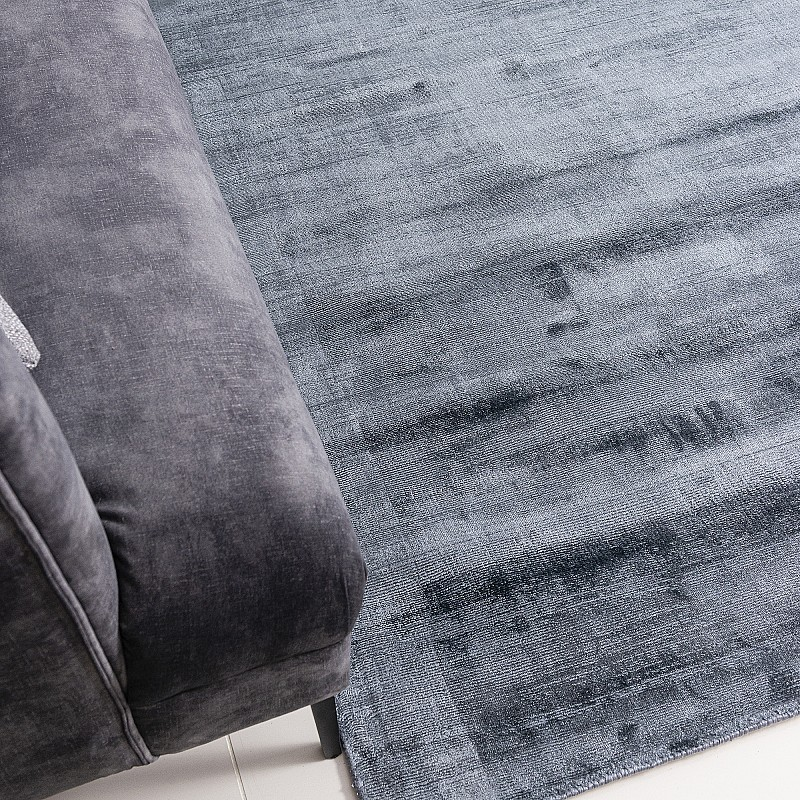 """Hand Made Viscose Rug """"Carizza"""" in Navy Blue"""