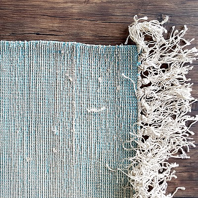 Hand Woven Viscose Rug With Fringe in Blue-Silver
