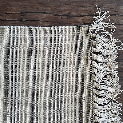 Hand Woven Viscose Rug With Fringe in Grey-Silver