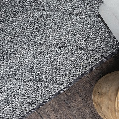 "Hand Made Wool-Blend Rug ""Crossroads"" in Grey"