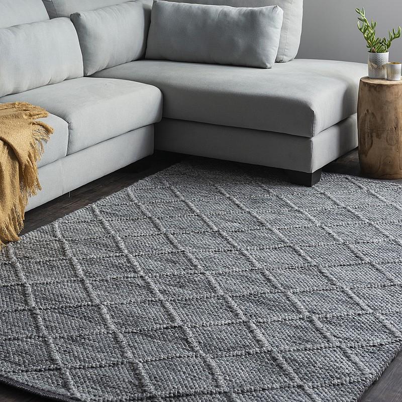 Hand Made Wool-Blend Rug Crossroads in Grey