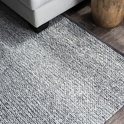 "Hand Made Wool-Blend Rug ""Lynx"" in Grey"