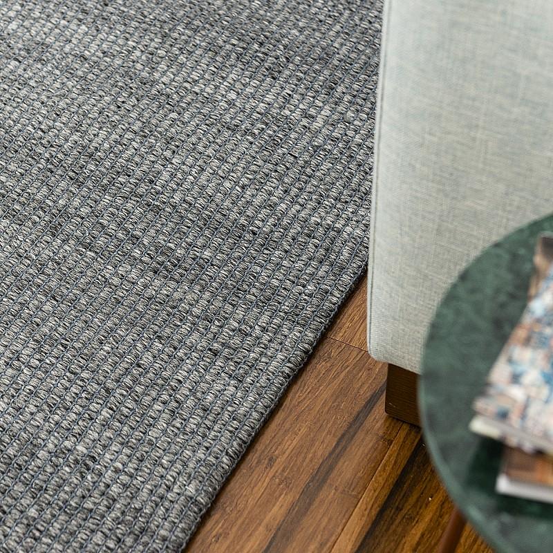 Hand Made Wool Flatweave Malmö in Dark Grey