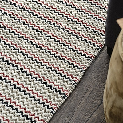 "Wool Kilim Rug ""Marrakesh Baby Chevron"" in Multi"