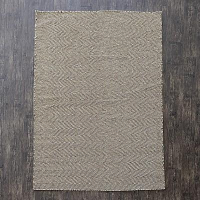 """Wool Kilim Rug """"Marrakesh Chevron"""" in Brown"""