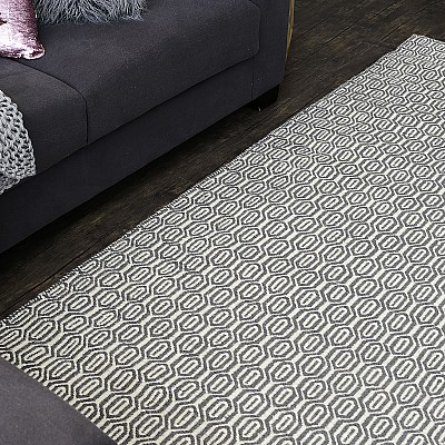 "Wool Kilim Rug ""Marrakesh Honeycomb"" in Grey"