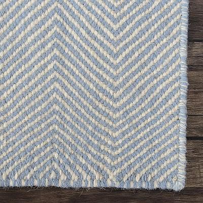 "Wool Kilim Rug ""Marrakesh Chevron"" in Blue"
