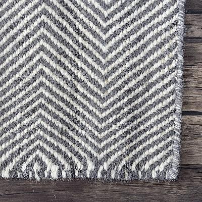 "Wool Kilim Rug ""Marrakesh Chevron"" in Grey"