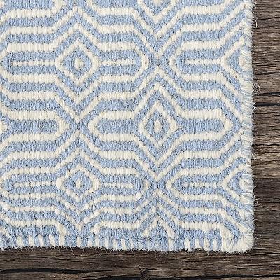 """Wool Kilim Rug """"Marrakesh Eye"""" in Blue"""