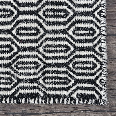 "Wool Kilim Rug ""Marrakesh Honeycomb"" in Black"