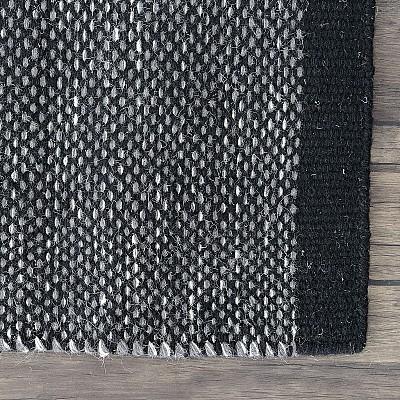 """Wool Kilim Rug """"Marrakesh"""" in Black"""