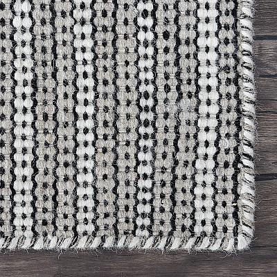 """Wool Kilim Rug """"Marrakesh Lines"""" in Beige"""