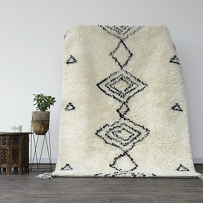 "Hand Knotted New Zealand Wool Shaggy Berber Rug ""Agadir"""
