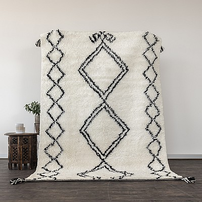 "Hand Knotted New Zealand Wool Shaggy Berber Rug ""Sefrou"""