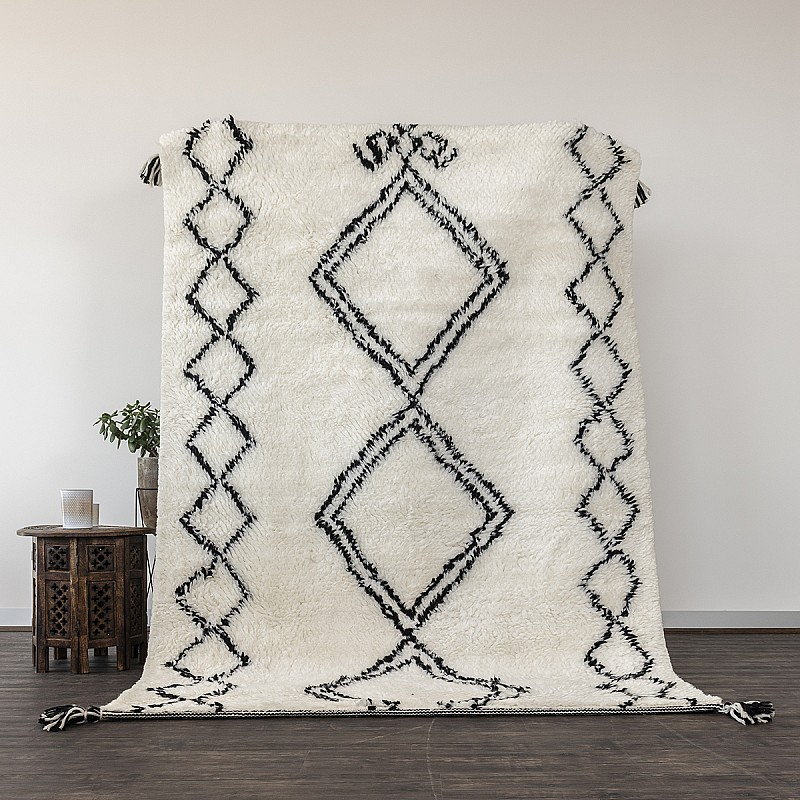 Hand Knotted New Zealand Wool Shaggy Berber Rug Sefrou