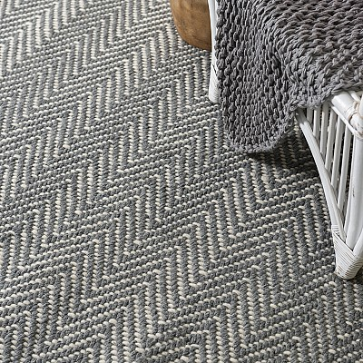 "Handwoven Flatweave Wool Rug ""Munich"" in Grey"