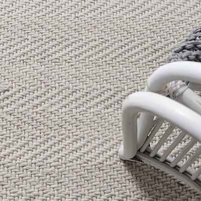 "Handwoven Flatweave Wool Rug ""Munich"" in Off White"