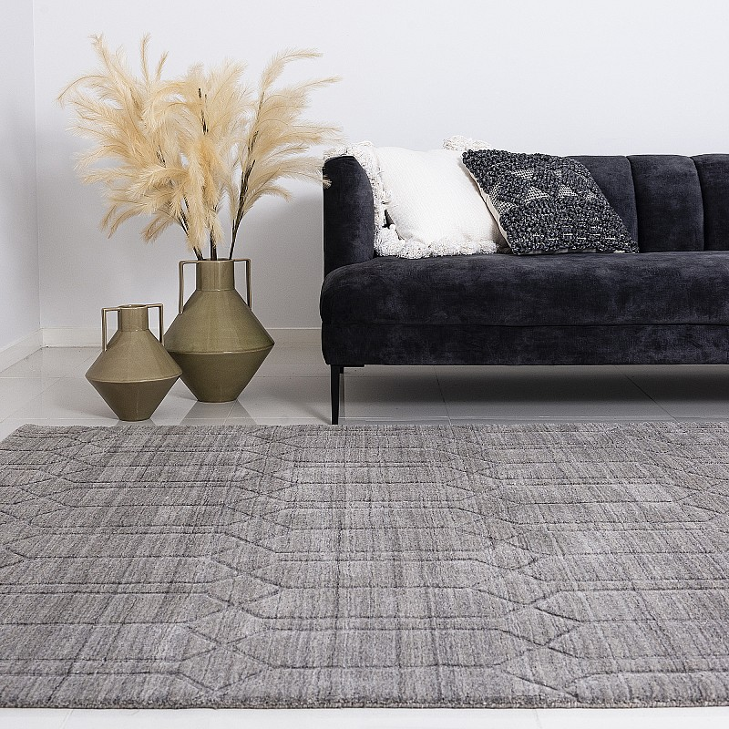 """Hand Knotted Wool Rug """"Oxford"""" Grey - OXFORDGRY"""