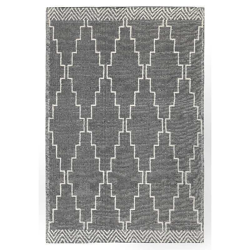 """Hand Made Wool Flat Woven Rug """"Palermo"""" in Black"""