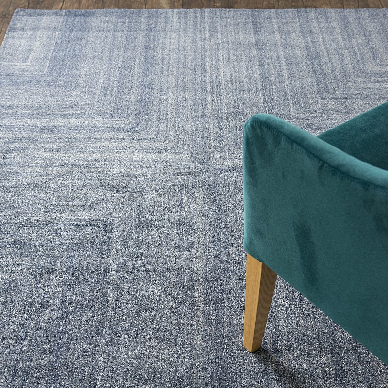 "Wool Tufted Rug ""Savana"" Blue"