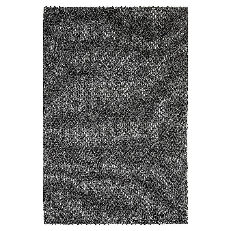 "Hand Made Wool Flatweave Rug ""Sorrento FX"" in Grey"