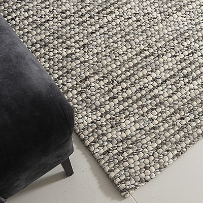 "Hand Woven Wool Rug ""Valencia SIlver"""