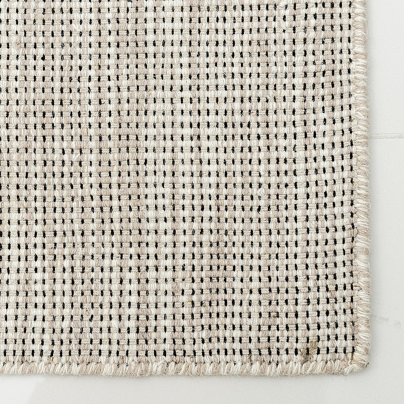 "Hand Made Wool Flatweave Rug ""Warsaw"" in Beige"