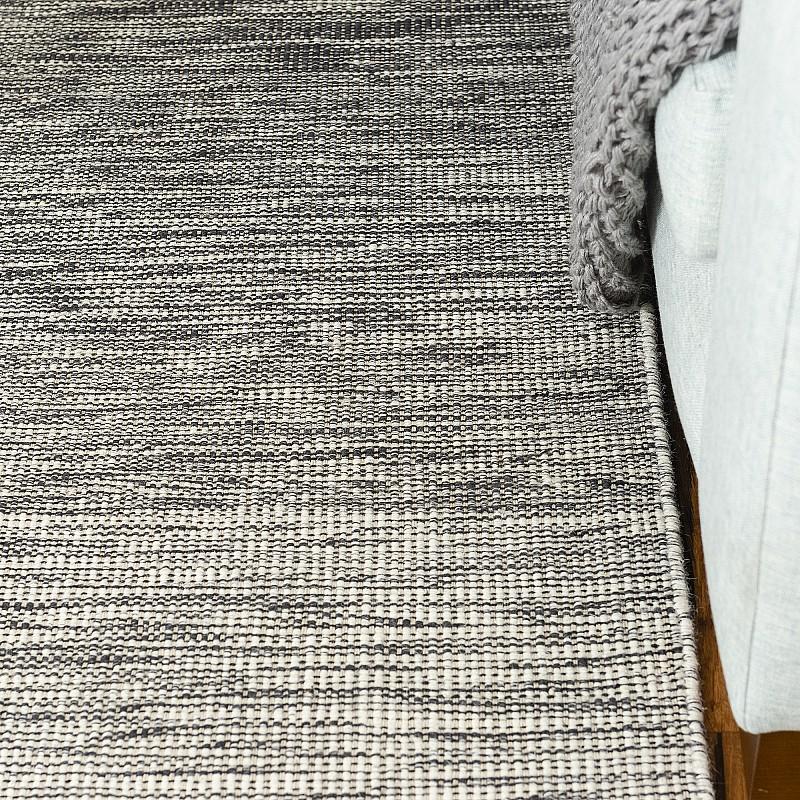 "Hand Made Wool Flatweave Rug ""Warsaw"" in Charcoal"