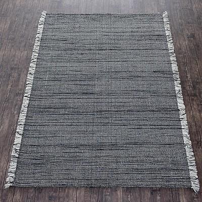 Wool Handloom Rug in Black With Contrasting Fringe