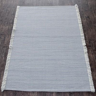 Wool Handloom Rug in Grey With Contrasting Fringe
