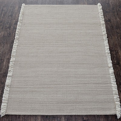 Wool Handloom Rug in Taupe With Contrasting Fringe