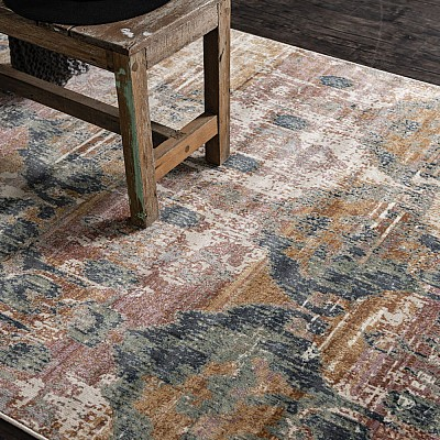 "Power-loomed soft polypropylene distress/vintage look rug ""Cavalli 2063X"""