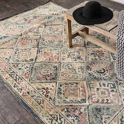 "Power-loomed soft polypropylene distress/vintage look rug ""Cavalli 71X"""
